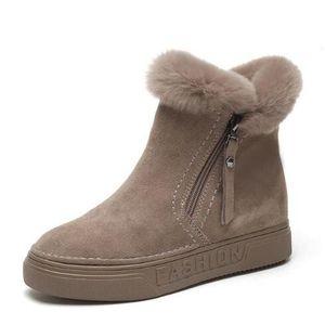 Para mujer Botas de Tobillo de Invierno Femenino Cremallera Flock Plataforma Bota de Nieve Señoras Zapatillas de deporte Felices Zapatos Planos Ocasionales Mujer Calzado