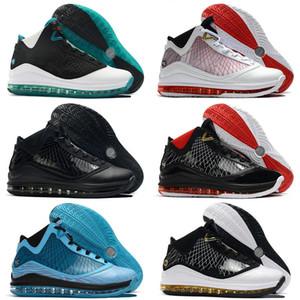 높은 품질 르브론 7 VII 모든 화이트 블랙 레드 유리 블루 7S 스포츠 운동화 냉각 장치 레드 카펫 키즈 남성 농구 신발 별