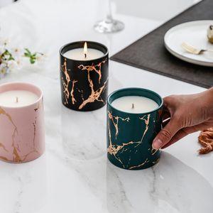Marble Candle Jar com castiçais de decoração para casa Vela velas decorativas ficar de casamento decoração do partido velas de luxo
