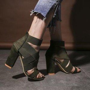 Hot Sale-2019 della caviglia estate Scarpe Donna Open Toe Chunky Tacchi alti Party Dress Sandals grande formato 43