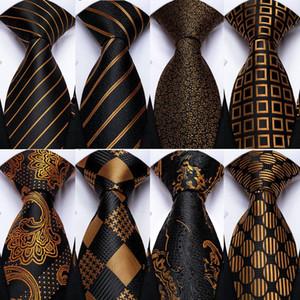 Laço do presente Men Tie Black Gold Striped Paisley Wedding Silk For Men DiBanGu lenço Abotoaduras Moda Set