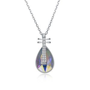 wholesale Beautiful Crystals from Swarovski 925 Sterling Silver Lute Violin Crystal Pendant Necklaces for Women 2018 Statement