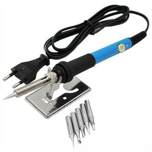 60W Temperatura ajustable de la soldadura eléctrica del hierro de la manija lápiz del calor de las extremidades de herramienta del hierro con el soporte para soldador de la soldadura de la reanudación de la reparación