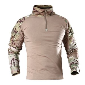 Frog Suit Tactical T-shirt Camouflage Multicam Long Sleeve Shirts V-Neck Outdoor Hiking Camping Hunting Army Men Shirt