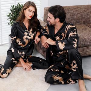 Пара Шелковый сатин Пижама Пижама Набор с длинным рукавом пижамы Pijama пижамы костюм женщины и мужчина сна 2PC Set Loungewear Plus Size
