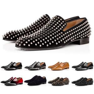 Christian Louboutin Red Bottoms CL shoes  Spikes Marca de vestir de hombre zapatos de cuero de los hombres del partido de las zapatillas de deporte del amante boda 39-47