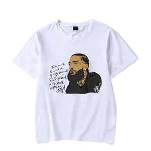 2019 Nipsey hussle Rap camisetas para hombre blanco impreso verano ocasional de la calle básicos camisetas de manga corta Hombres