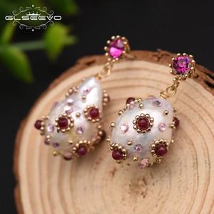 Glseevo الطبيعية للمياه العذبة الباروك اللؤلؤ انخفاض أقراط مع الزركون الأحمر تعلق أقراط للنساء مجوهرات الزفاف الفاخرة Ge0296 T190626