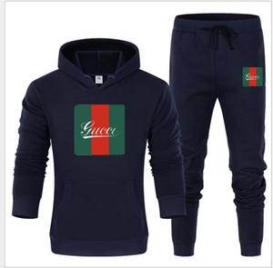 Chándales de los hombres causal Conjunto capucha Espesar sudaderas con capucha Fleece + Sweatpant Invierno Primavera camiseta de deporte masculino de impresión de letras