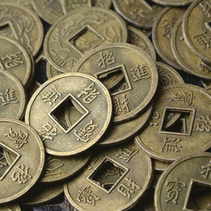 100PCS chinesa antiga Feng Shui Sorte Coin Good Fortune Dragão e 10 milímetros Phoenix antigo Riqueza Dinheiro Gift Collection
