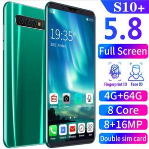 2020 Горячий продавать s10 + разблокирована 8 + 16MP 8 Основные Dual SIM Real Smart Phone 5,8 '' Android 8.0 Mobile 4G + 64G
