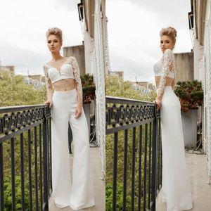 2020 Two Pieces Pantsuits Bohemia Wedding Dresses Sexy V Neck Lace Beach Wedding Dress Custom Made Pants Suit Cheap Bridal Dress