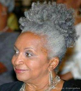 Intelectual Mujeres Gray Pelo Topper Extensión Plata Gris Afro Puff Skinky Curcy Drawstring Human Pein PinyTails Clip en el pelo real 1 pieza