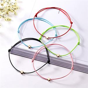 Золотой цвет звезды шарм браслет для женщин мужчины Lucky Red String дружба браслеты пожелания ювелирных изделий подарок