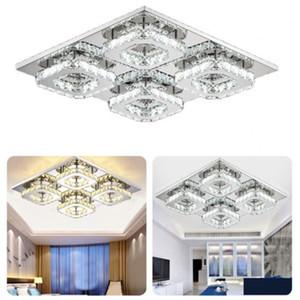 Cristal carrée Plafonnier moderne lumières LED Plafonnier Etats-Unis Entrepôt Livraison 48W cristal carrée Lampe suspendue Lampe en cristal clair