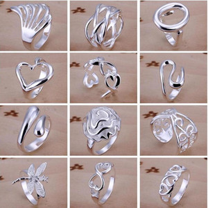 925 Silver Plated Charms Rings Vintage Finger Ring Nice Christmas Gift for women Ladies Size 7,8 Open Style Mixed