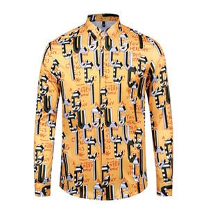 Fashion Designer Slim Fit Shirts Men 5D Medusa Black Gold Floral Print Mens Dress Shirts Long Sleeved Business Casual Shirts Males Clothes