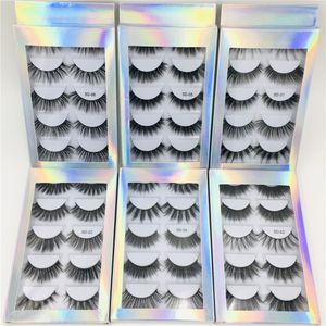 5 pares de pestañas falsas con caja holográfica, 5 pares de pestañas con la caja de papel, 5 pares mixtos precio barato pestañas postizas 5D01-5D06