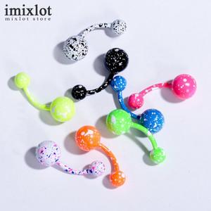 Toptan 40 adet / grup Mix Renkler Seksi Dangle Belly Button Yüzükler Göbek Piercing Cerrahi Çelik Vücut Takı Göbek Piercing Yüzükler