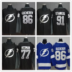 Men's Tampa Bay Lightning # 86 Nikita Kucherov # 91 Steven Stamkos # 77 Victor Hedman Nero Blu Bianco Giocatore Maglie da hockey Loghi cuciti