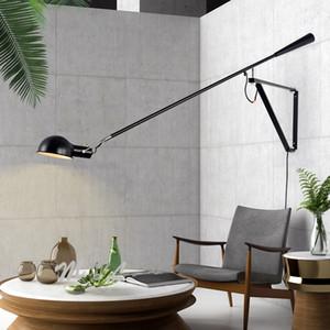 Muro Nordic + lampade art déco di ferro ha condotto la lampada da parete per la camera da letto per le lampade Sconces Wall Light ruotabile Long Arm E27