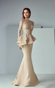 Champagne Lace Stain Peplum Wear Prom Dresses 2019 Sheer Neck Long Sleeve Dubai Arabic Mermaid Long Evening Formal Gowns
