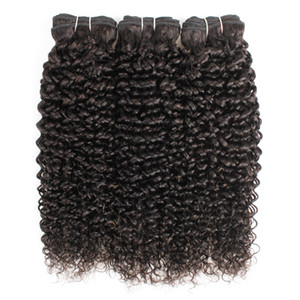 Natural Color 3 Связки Джерри завитые выдвижения волос Afro стиль Бразильский перуанский Малазийский Индийский Девы Weave человеческих волос