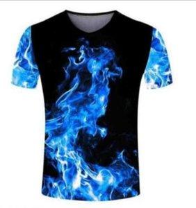 New fashion Men Women's The flame 3D Print Casual T-Shirt Short Sleeve