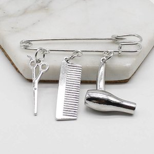 ashion Jewelry Brooches Creative Personality Hair Stylist Brooch Charm Jewelry Hairdressing Scissors Comb Pendant Washing and Cutting Bro...