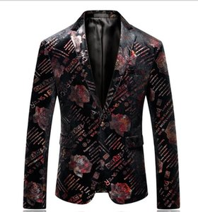 Rose Floral Printed Mens Blazer Jacket Singers Casual Slim Fit Prom Tuxedo Dress Single Button Suit Jacket Party Wear fz3307