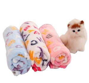 Köpek Battaniye Köpek Yatak Minderleri Yumuşak Coral Polar Paw Ayak Küçük Orta Köpekler Kediler Kaynaklarının sıcak uyku Yataklar Kapak Mat Baskı