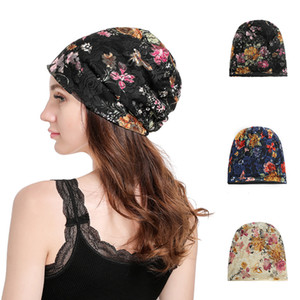 Women Fashion Mercerizing Lace Pullover Hat Flowral Lace Turban Beanie Hats for Spring Autumn 3colors RRA1936