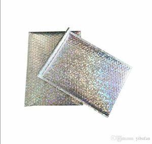 Tamaño grande de plata láser Sobre de envío de burbujas bolsa messenger anuncios publicitarios rellenados sobres de embalaje en bolsas de envío 23 * 30 cm