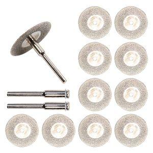 10 unids / set 30mm Mini Diamond Saw Blade Discos de corte de plata con vástago de conexión 2X para Dremel Drill Fit Rotary Tool