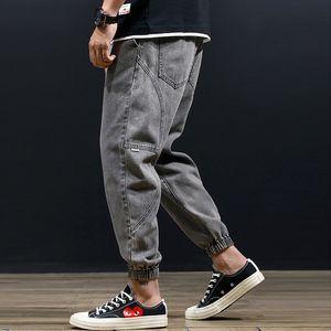 Calças de Brim dos homens Patchwork Harem Men Casual Corredores Calças Hip Hop Elástico Na Cintura Calças Jeans Soltos Baggy Taper Calças Pretas Calças de Brim Do Homem