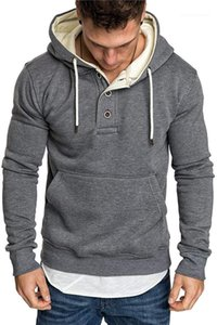 Hoodies Solid Color Thick Winter Fashion Man Sweatshirts Casual Men Fitness Hoodies with Button Slim Mens Sport