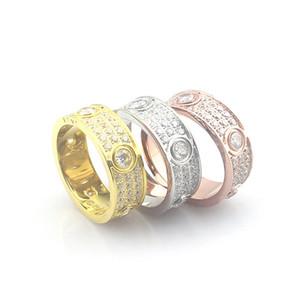 Titanium aço completo com diamantes Anéis de Amor para As Mulheres Homens jóias Casais Anéis de Casamento Cubic Zirconia Bandas Anéis Bague Femme jóias