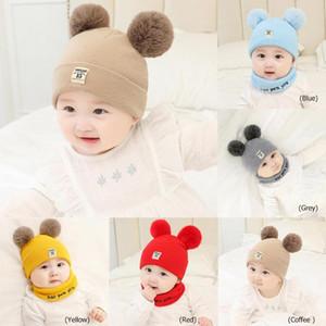 Moda Beanies del bambino del cappello del fiocchetto inverno dei bambini cappello a maglia sveglie Cap per ragazzi ragazze solido casuale di colore ragazze bambino Berretti