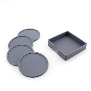 Rund Quadrat-Silikon-Untersetzer-Set Silikon Coaster Cup Mat Hause Trinken Tischset Geschirr Coaster Nette Süßigkeit-Farben-Schalen-Auflage VT0602