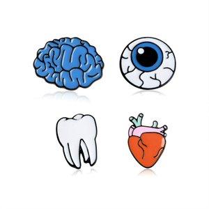 الشكل مضحك جسم الإنسان بروش الدماغ عيون الأسنان القلب شارة مجوهرات المعادن الصلبة المينا دبوس مجموعة زر التلبيب حقيبة الدينيم القبعة ملحقات