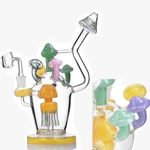 9.6 inchs Water Glass Bong pipas Vaso de hongos Bong Embriagador cristal del aceite Dab Rigs Cachimbas Con 14mm Tazón envío
