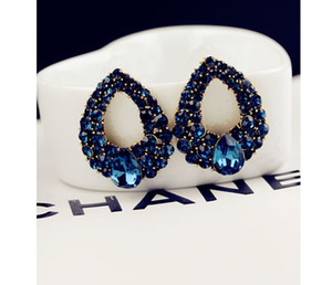 Fashion Brincos Perlas New Girls Earing Bijoux Blue Zircon Stud Earrings For Women Wedding Jewelry Earings One Direction