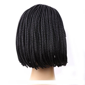 H Wholesale Cheap Sales Inventor 10inch Braided Box Braid Wig Heat Resistant Synthetic Wig With Bangs Short Bob Wigs For Black Women
