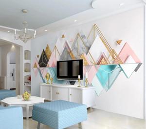 Bacal Custom home decoration photo 3d wallpaper HD atmospheric Triangular metal glass geometry 3d wallpaper papel de parede