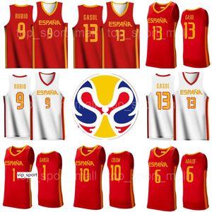 Copa Mundial de 2019 Baloncesto España Jersey Equipo España 13 Marc Gasol 9 Ricky Rubio 41 Juancho Hernangomez 14 Willy Geuer 5 Rudy Fernández Ribas