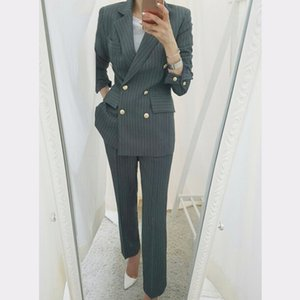 BGTEEVER Work Business Striped Abiti da donna doppio petto Slim Pant Abiti Blazer Jacket Matita Pant Office Lady 2 pezzi set