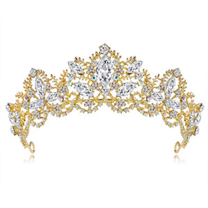 Fashion New Gold Silver Crystal Pearl Crown Wedding Tiara Bridal Hair Jewelry Hair Accessories Princess Pageant Crowns Gift For Women