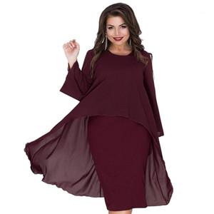 Summer Designer Fashion Dress Crew Neck Ashymmetrical Batwing Clothing Polyester Chiffon Casual Loose Apparel 6xl Womens