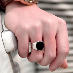 anillos de color negro sólido de acero inoxidable anillo de los hombres del motorista de la banda en anillo de sello hombres joyería dedo famoso diseñador para los hombres 2020