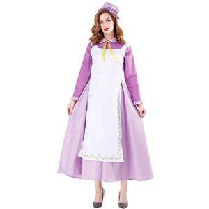 femmes violet jupe fille château magique halloween costume robe de femme de ménage fée robe violette cosplay